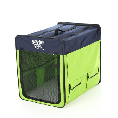 Collapsible Pet Crate Size: Medium - Lime / Blue