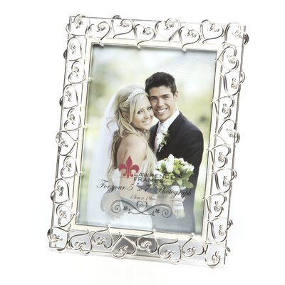 Lawrence Frames Crystals and Ivory Enamel Metal Picture Frame