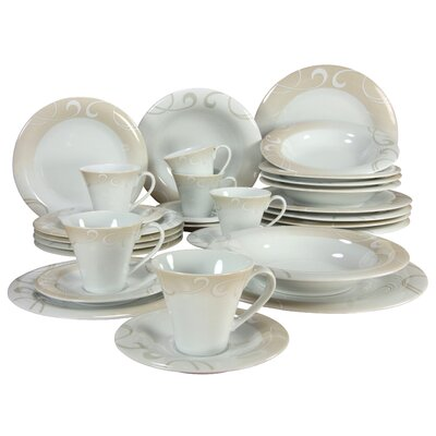 Creatable Soft 30 Piece Porcelain Combo Service Dinnerware Set in Finesse Marron