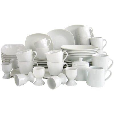 Creatable 50 Piece Square Combo Service Dinnerware Set in White