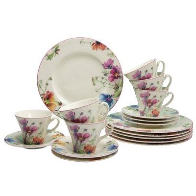 Creatable Cosmea Premium Porcelain 18 Piece Coffee Set