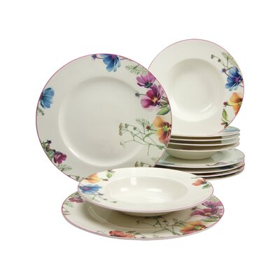 Creatable Cosmea Premium Porcelain 12 Piece Dinnerware Set