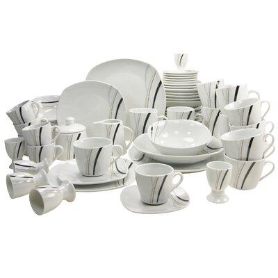 Creatable Square City Line 62 Piece Dinnerware Set