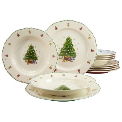 Creatable Tannenbaum Premium 12 Piece Dinnerware Set