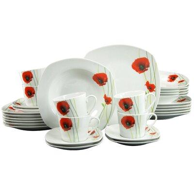 Creatable Papaver 30 Piece Porcelain Dinnerware Set