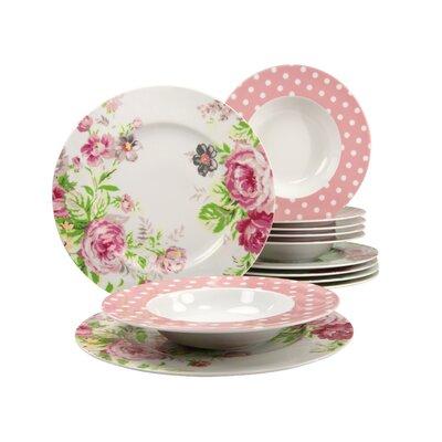 Creatable Amelia Rose 12 Piece Dinnerware Set