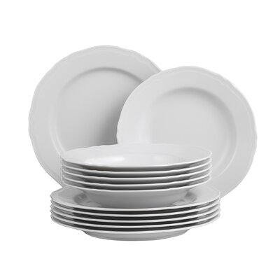 Creatable Alba White 12 Piece Dinnerware Set