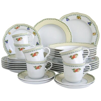 Creatable Alba Obst 30 Piece Porcelain Dinnerware Set