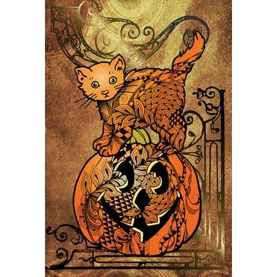 Tangle Cat and Pumpkin Garden flag