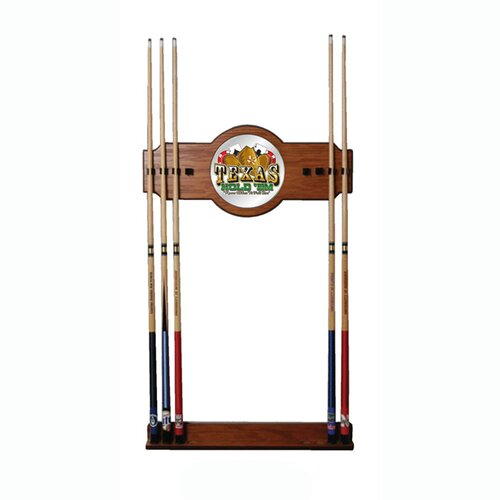 Texas Hold'em 2-Piece Wood and Mirror Wall Cue Rack