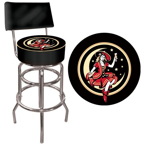 Miller High Life Girl in the Moon Bar Stool with Cushion