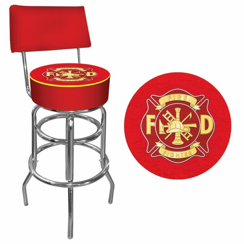 Fire Fighter Swivel Bar Stool with Cushion