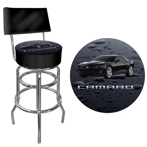 Black Camaro Swivel Bar Stool with Cushion
