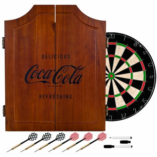 Coca Cola Wood Dart Cabinet Set