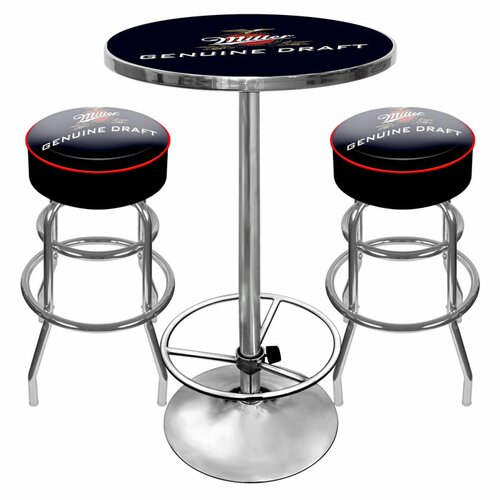 Ultimate Miller Genuine Draft 3 Piece Pub Table Set