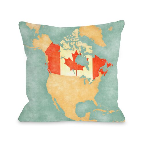 Canada Map Throw Pillow