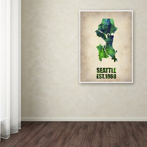 'Seattle Watercolor Map' Canvas Art by Naxart