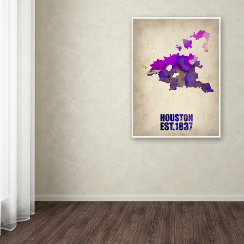 'Houston Watercolor Map' Canvas Art by Naxart