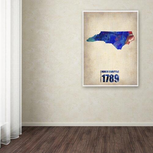 'North Carolina Watercolor Map' Canvas Art by Naxart