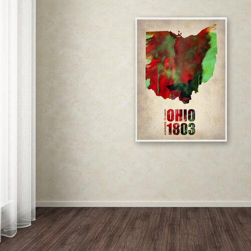 'Ohio Watercolor Map' Canvas Art by Naxart