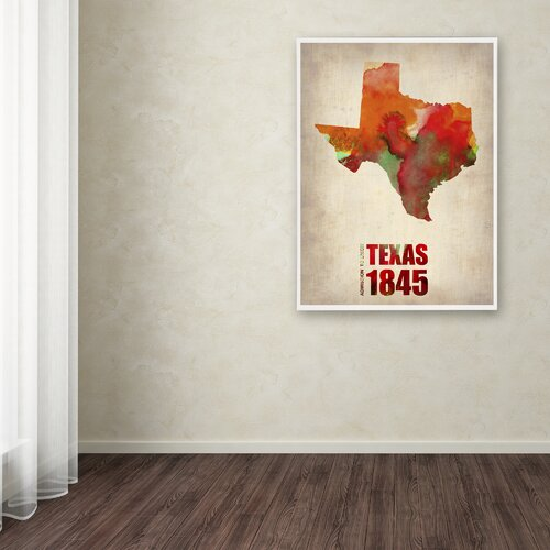'Texas Watercolor Map' Canvas Art by Naxart