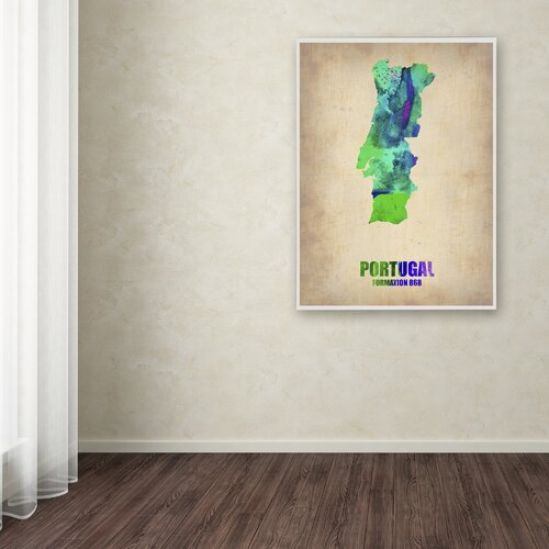 'Portugal Watercolor Map' Canvas Art by Naxart