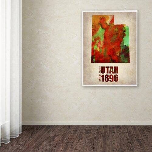 'Utah Watercolor Map' Canvas Art by Naxart