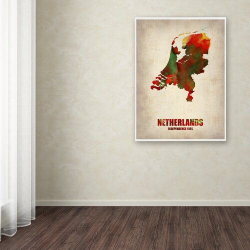 'Netherlands Watercolor Map' Canvas Art by Naxart