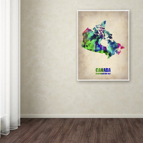 'Canada Watercolor Map' Canvas Art by Naxart