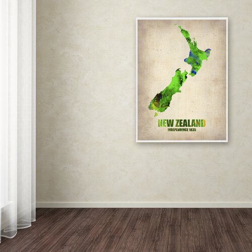 'New Zealand Watercolor Map' Canvas Art by Naxart