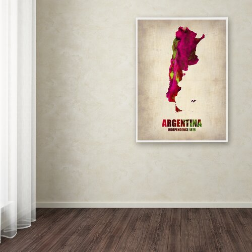 'Argentina Watercolor Map' Canvas Art by Naxart