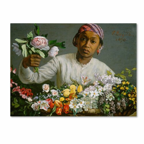 'Young Woman with Peonies' by Jean Frederic Bazille Painting Print on Canvas