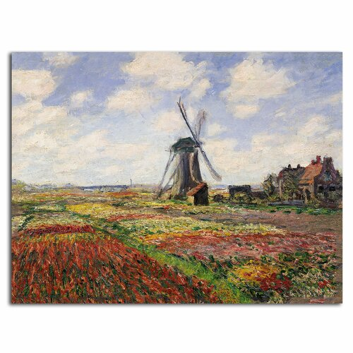'Tulip Fields in Holland, 1886' by Claude Monet Painting Print on Canvas