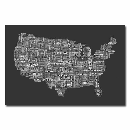 US City Map V by Michael Tompsett Textual Art on Canvas in Charcoal