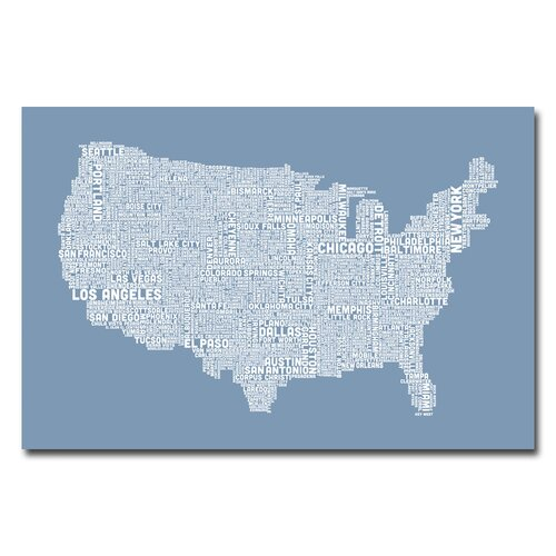 US City Map V by Michael Tompsett Textual Art on Canvas in Steel Blue