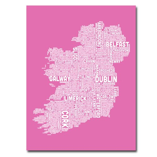 Ireland City Map X by Michael Tompsett Textual Art on Canvas in Pink