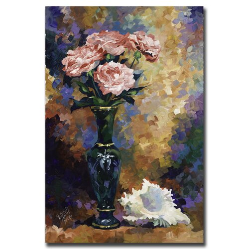 'Roses & a Seashell' by Yelena Lamm Painting Print on Canvas
