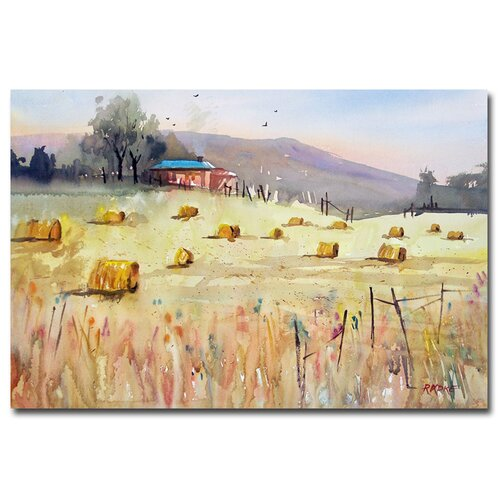 'Hay Bales' by Ryan Radke Painting Print on Canvas