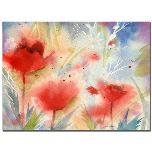 'Red Poppy Splash' by Sheila Golden Painting Print on Canvas