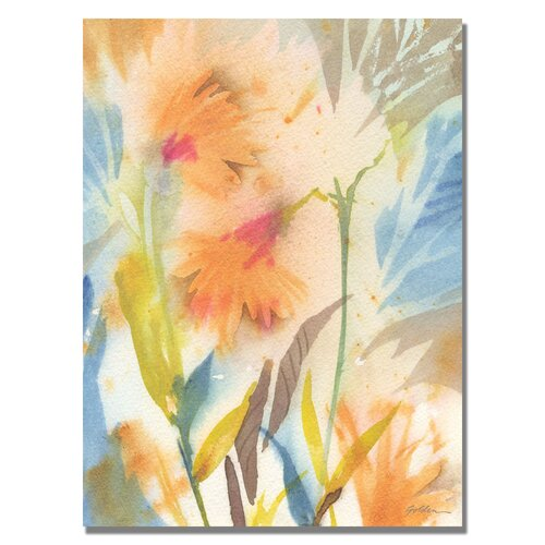 'Tropical Orange Flowers' by Sheila Golden Painting Print on Canvas