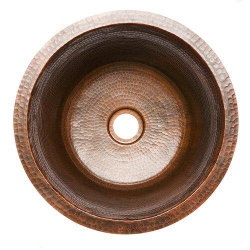 Round Hammered Copper Bar Bathroom Sink