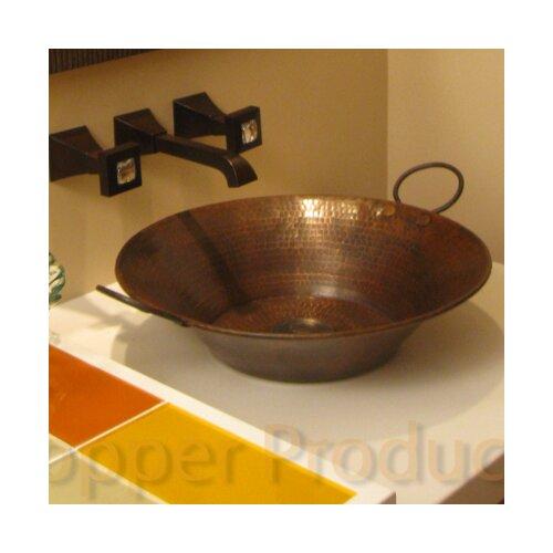 Round Minors Pan Hammered Copper Vessel Bathroom Sink