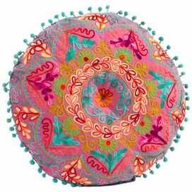 Botanical Round Cushion in Fuchsia