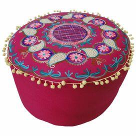 Floor Ottoman in Fuchsia