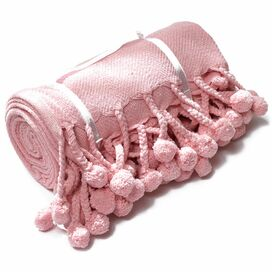 Pompom Blanket in Baby Pink