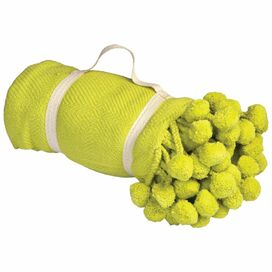 Pompom Blanket in Lime
