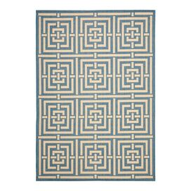 Meandros Indoor/Outdoor Rug in Blue & Bone