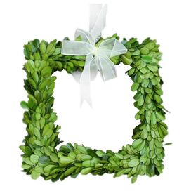 "Preserved Boxwood 8"" Square Wreath"