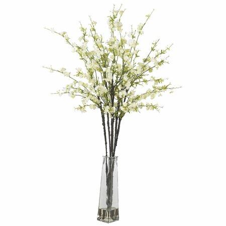 Silk Flower Arrangement on Cherry Blossoms Silk Flower Arrangement In White   Nearly Natural On
