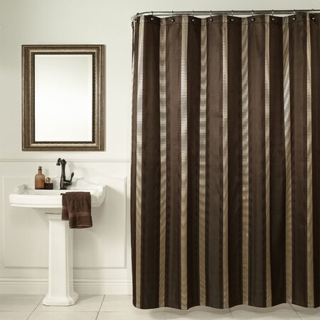 Hudson Stripe Shower Curtain in Brown - Bathing Beauty on Wayfair